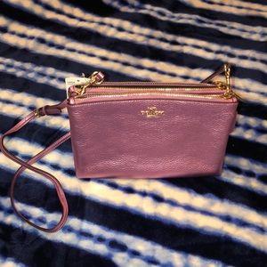 Coach pink metallic double zip crossbody